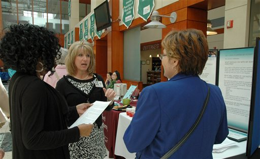 Andrea Vassel of Mary Washington Healthcare explains the benefits of an advance directive at Mary Washington Hospital in Fredericksburg, Va., as part of National Healthcare Decisions Day on April 16.