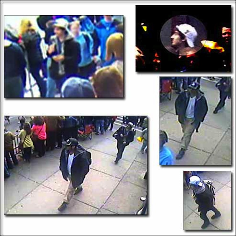 This group of photos shows various views of the two suspects sought by the FBI.