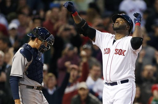 David Ortiz, right, celebrates his solo home run as Houston Astros catcher Jason Castro looks down in the third inning Thursday. Red Sox won the game, 7-2.