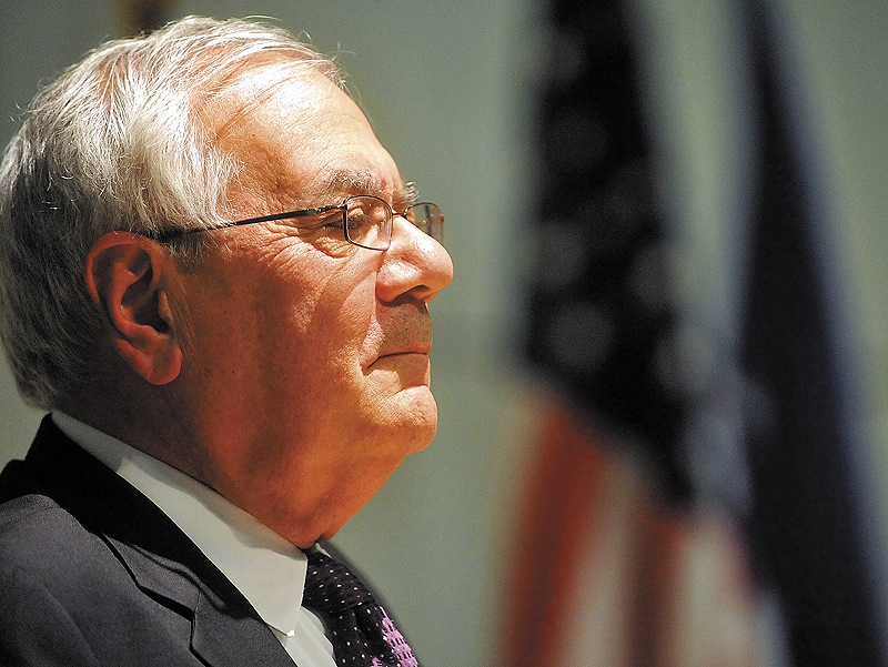Former U.S. Rep. Barney Frank speaks during the Colby College government spring lecture at the Diamond Building in Waterville on Sunday.
