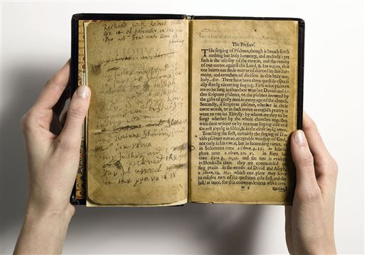 The Bay Psalm Book is the first book ever printed in what is now the United States. The last time a copy came on the auction block was in 1947, when it sold for a record auction price of $151,000. At the time, it surpassed auction prices for the Gutenberg Bible, Shakespeare's First Folio and Audubon's
