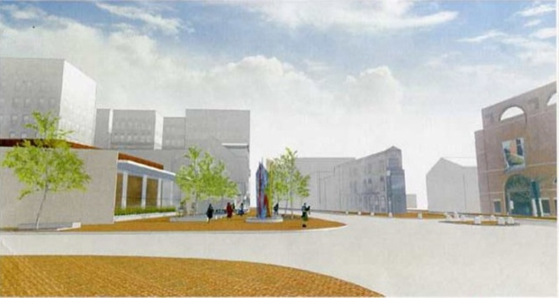 This artist's rendering of the new Congress Square Plaza plan, pictured from the northwest corner of Congress and High streets, shows the Portland Museum of Art at right and the proposed event center and public space at left.