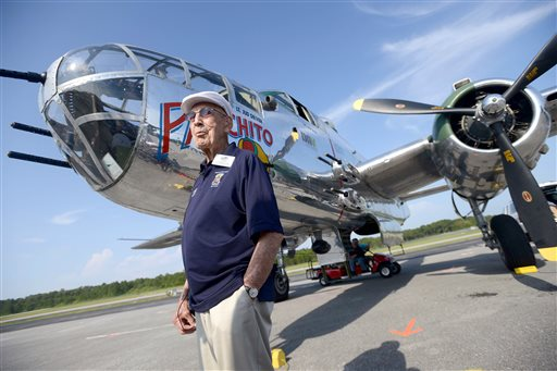 Lt. Col. Dick Cole stands in front of a B-25 at the Destin Airport in Destin, Fla. on Tuesday. Cole was Lt. Col. Jimmy Doolittle's co-pilot during the tokyo raid.