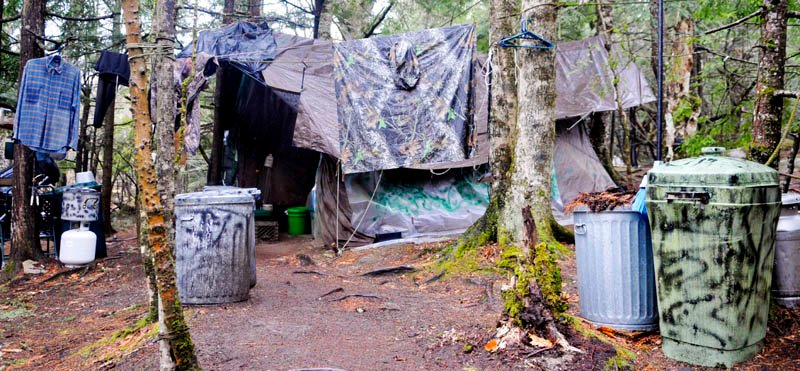 Staff photo by Andy Molloy Christopher Knight's camp site located in a remote stand of woods in Rome moments before Game Wardens, State Police and Somerset County Sheriff's deputies inspected the camp Tuesday April 9, 2013. Police believe Knight, who went into the woods near Belgrade in 1986, was a hermit who committed hundreds of burglaries to sustain himself.