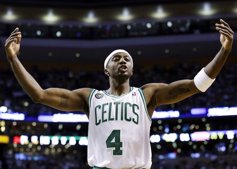 Boston Celtics guard Jason Terry (4) exhorts the crowd to cheer during the second half in Game 4 of a first-round NBA basketball playoff series against the New York Knicks in Boston, Sunday, April 28, 2013. The Celtics won 97-90 in overtime. (AP Photo/Elise Amendola) TD Garden