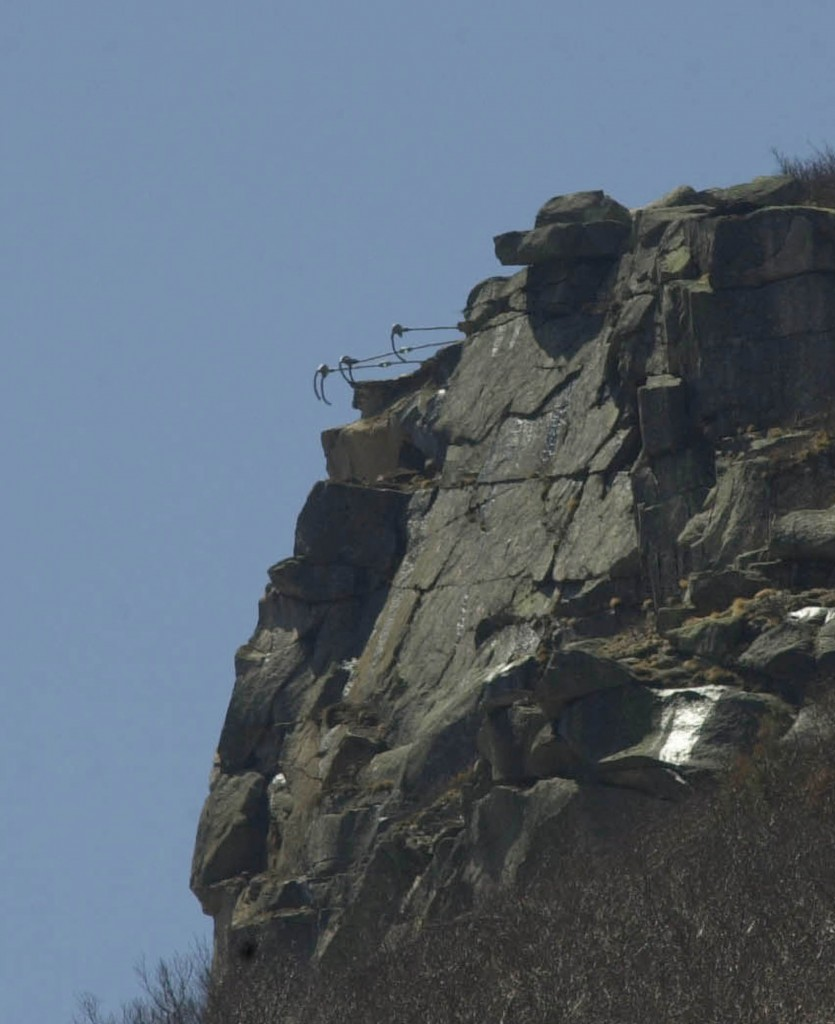 Turnbuckles that were used to secure the Old Man of the Mountain are shown on May 3, 2003, the day it was first noticed that the 40-foot tall rock formation and symbol of the state had broken off its perch.