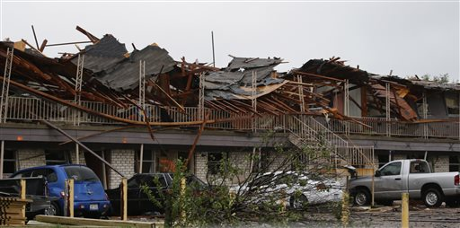The front of an apartment complex that was destroyed by the explosion in West, Texas, on Thursday.