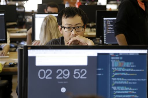 Student David Wen works during a class at Dev Bootcamp in San Francisco earlier this month.