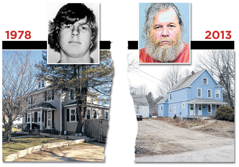 Gary Alan Irving, top left, is seen shortly after his arrest in September 1978 on suspicion that he raped three teenage girls at knifepoint in Massachusetts. He lived with his parents and siblings at this home on Myrtle Street in Rockland, Mass., left, at the time. The 52-year-old Irving, top right, was arrested as a fugitive from justice late last month. Irving, who lived at this South Street home in Gorham, right, had gotten married and raised two children, eluding authorities for almost 34 years.