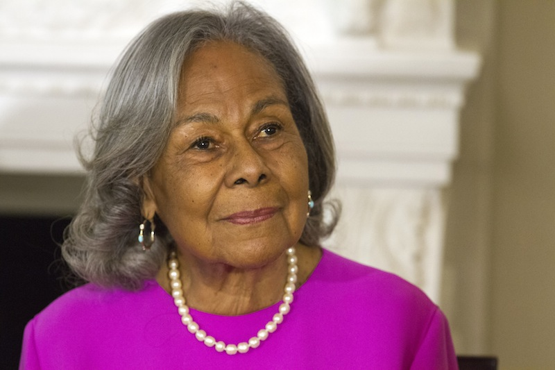 Rachel Robinson, 90, widow of baseball great Jackie Robinson attends a workshop for high school and college students with cast members of the movie