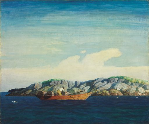 """This image provided by Christie's shows N.C. Wyeth's 1938 """"Norry Seavey Hauling Traps Off Blubber Island,"""" an oil on Masonite that is expected to fetch between $300,000 and $500,000 when it is auctioned on May 23."""