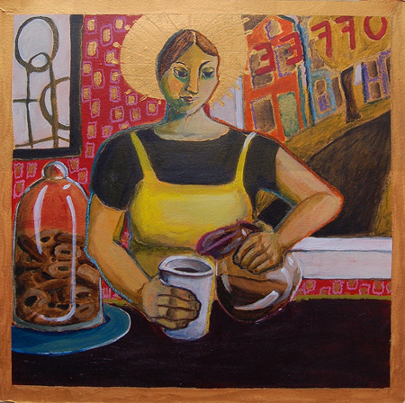 """Santa Barista,"" oil pastel on acrylic by Alison Goodwin, from ""Go Figure: An Invitational Figurative Show,"" the current exhibition continuing through April 27 at Greenhut Galleries in Portland."
