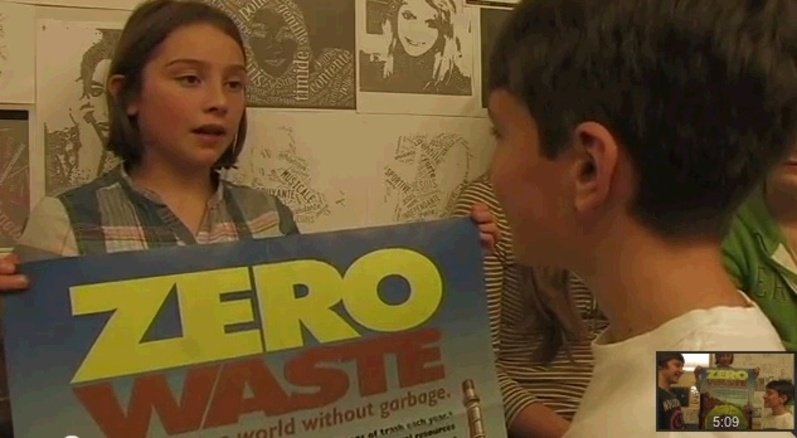 This is an image from a YouTube video in which Gorham Middle School students explain their plan to reduce the amount of waste the school throws away.
