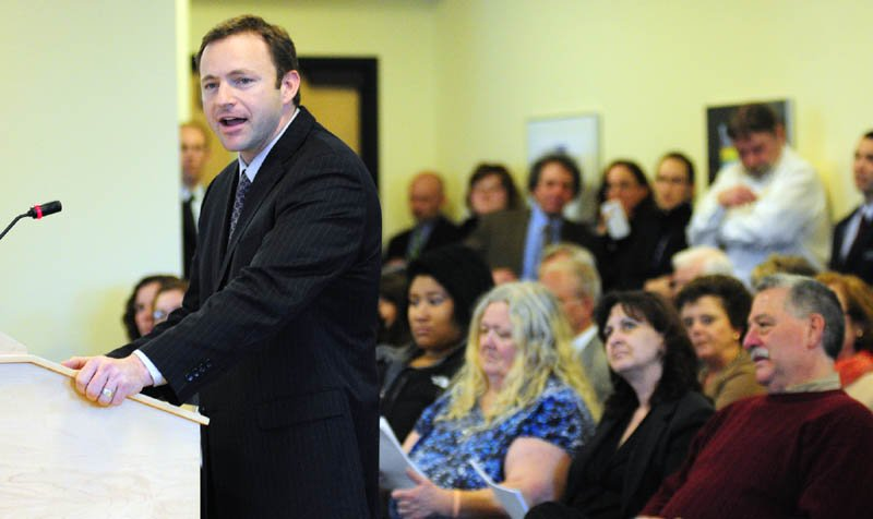 """Speaker of the House Mark Eves, D-North Berwick, introduces L.D. 1066, """"An Act To Increase Access to Health Coverage and Qualify Maine for Federal Funding,"""" on Tuesday April 2, 2013 before the Health and Human Services Committee in the Cross Building in Augusta."""
