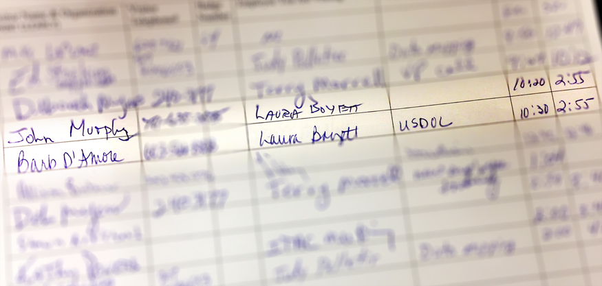 This highlighted image of the visitor's log Wednesday showed that two staff members from the U.S. Department of Labor had met with Laura Boyett, director of the state Bureau of Unemployment Compensation, for more than four hours on Tuesday. The same two federal employees met with Boyett on Wednesday morning.