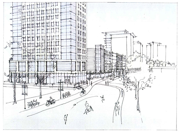 "Sketch of the proposed ""Midtown"" development by Perkins Eastman Architects."