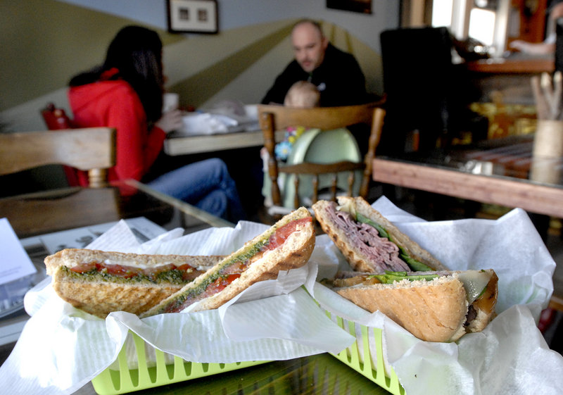The Caprese and Big O paninis at The Local Press on Woodford Street in Portland.