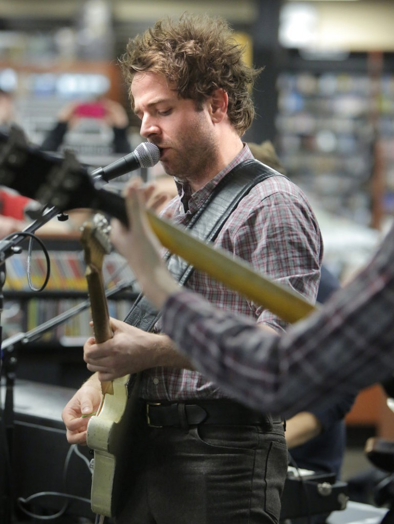 Taylor Goldsmith, Dawes frontman, sings at Bull Moose in Scarborough.