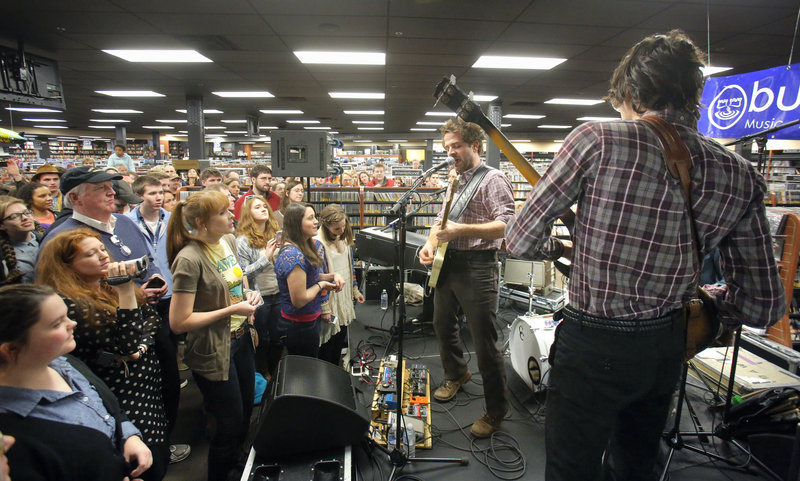 Dawes plays before a crowd of about 200 fans at Bull Moose in Scarborough. The band, which shares an emphasis on lyricism with Bob Dylan, opens for the musical icon Wednesday.
