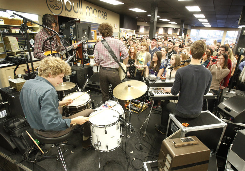Up-and-coming band Dawes performs at Bull Moose in Scarborough on March 27. The band opens for Bob Dylan on Wednesday.