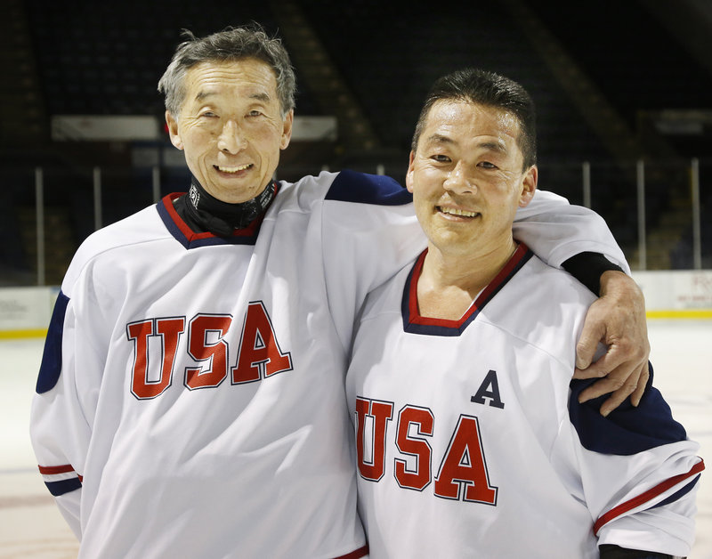 Takahiro Sato, left, rooted for and admired Steve Tsujiura when Tsujiura starred for the Maine Mariners in the 1980s. Tsujiura is now a sales manager at Pape Chevrolet.