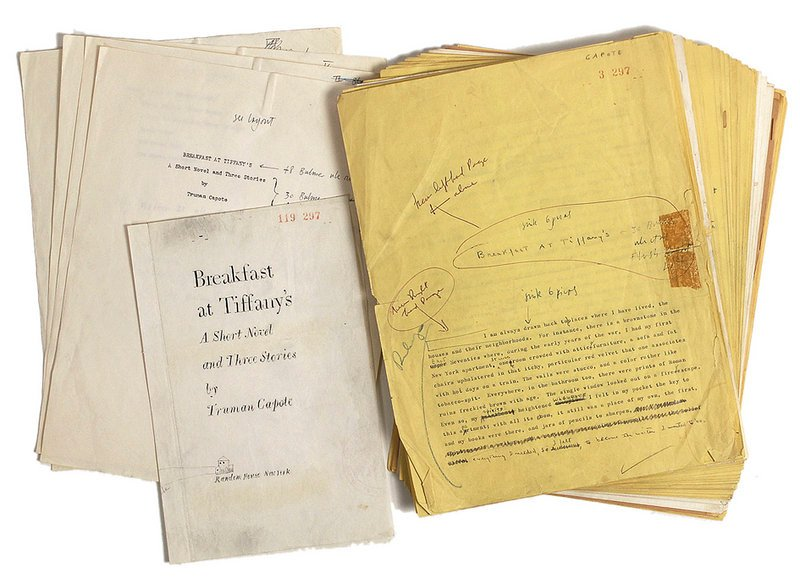 "This undated photo provided by RR Auctions in Amherst, N.H., shows a 1958 typed manuscript of ""Breakfast at Tiffany's,"" with hand annotations by Truman Capote, which will be featured with other Hollywood-themed items at auction later this month."