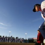 Will Latimer of the Portland Sea Dogs takes the field during introductions Thursday evening at Hadlock Field. It was opening day for the team's 20th season in Portland, and 5,447 fans were on hand for the game against the Trenton Thunder. The skies were sunny but the wind was chilly.