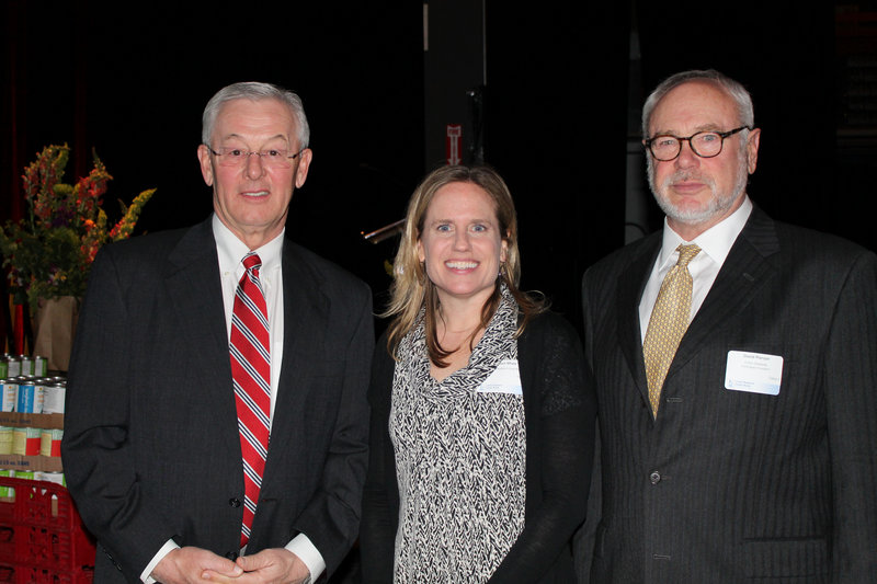 Robert Moore, president and CEO of Dead River Company and the JoAnn Pike Humanitarian Award honoree, with Kristen Miale, president of Good Shepherd Food Bank, and David Pierson, Good Shepherd Food Bank board chairman.