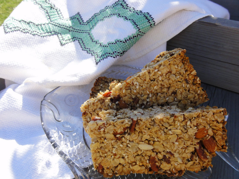Apricot, pistachio and almond flapjacks (with pecans substituted for the almonds).