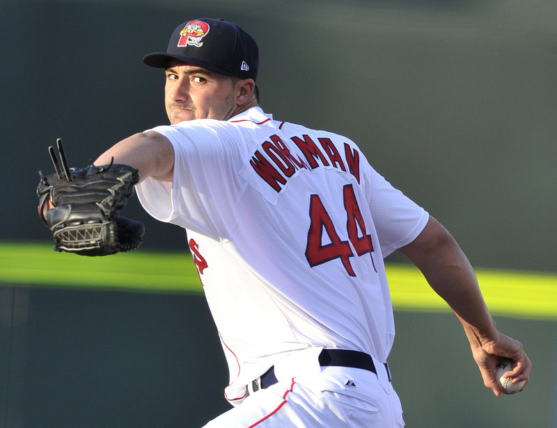 Sea Dogs starter Brandon Workman in the first inning.