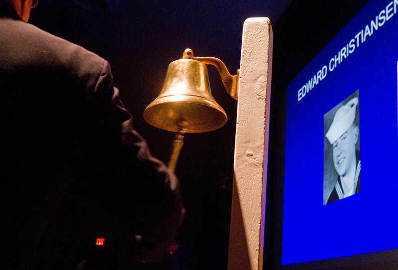 During a memorial service for the 50th anniversary of the sinking of the USS Thresher on Saturday in Portsmouth, N.H., a bell is rung for each of the 129 sailors, engineers and civilians who were lost when the nuclear submarine went down during sea trials in the Atlantic Ocean east of Cape Cod on April 10, 1963.