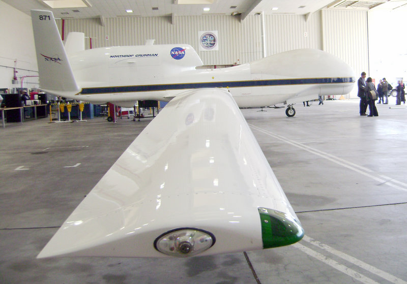 Fifty teams from 39 states have applied to the Federal Aviation Administration to be among the six sites that would test drones such as this NASA Global Hawk robotic jet sitting in a hangar at Dryden Flight Research Center in Edwards Air Force Base, Calif.