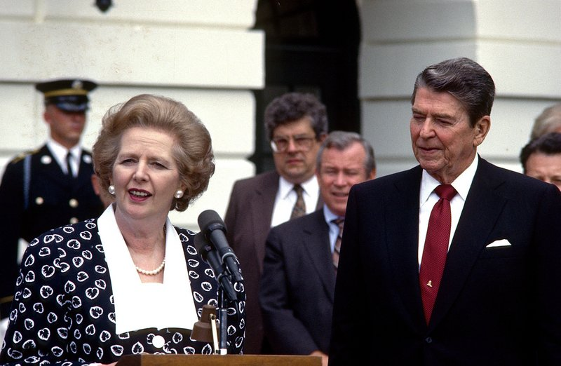 "British Prime Minister Margaret Thatcher offers remarks while visiting President Ronald Reagan in 1987. After Iraq invaded Kuwait, she told President George H.W. Bush ""this is not the time to go wobbly, George."""