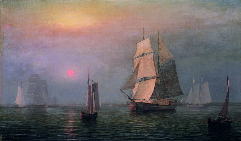"Fitz Henry Lane's ""Shipping in DownEast Waters,"" 1854, oil on canvas."