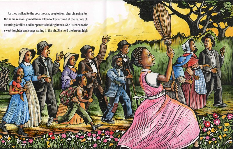 """A detail from the Minter-illustrated book """"Ellen's Broom,"""" from """"Lines Converge, Colors Dance."""""""