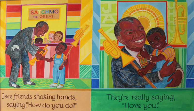 "Illustrations by Ashley Bryan depicting a loving Louis Armstrong, from ""Lines Converge, Colors Dance."""