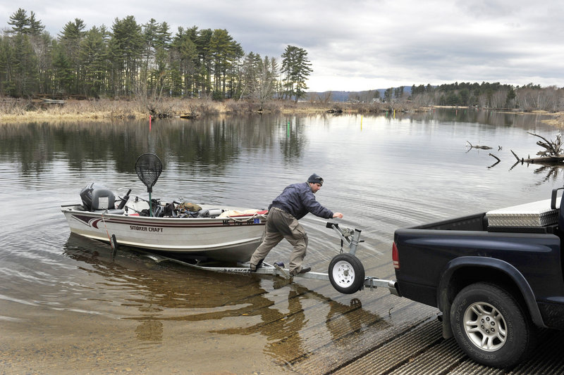 Dan Hillier of Naples doesn't have any trouble launching his boat at Sebago Lake State Park, but come the prime boating season, it won't be so easy.