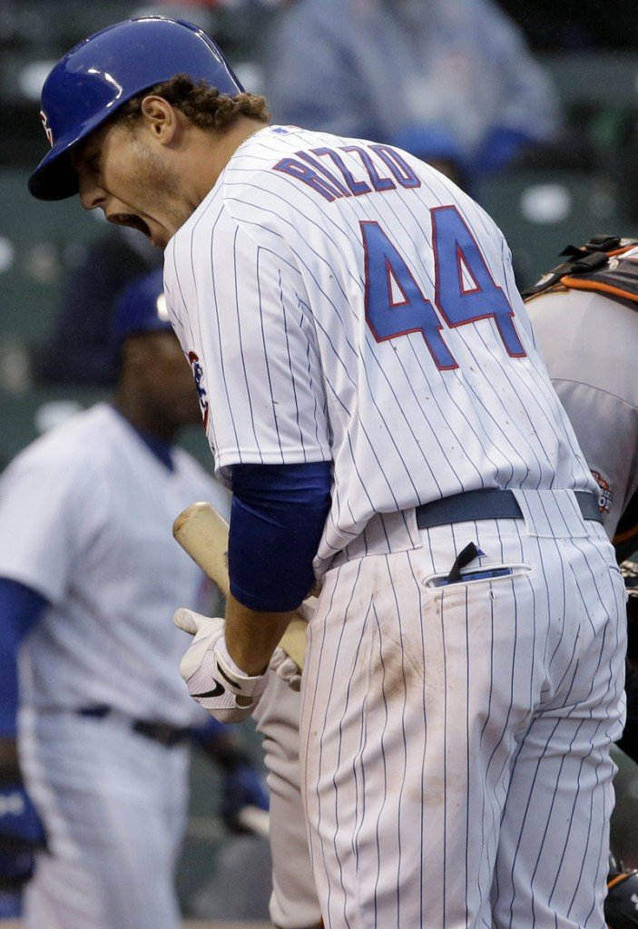 Anthony Rizzo of the Chicago Cubs reacts after being called out on strikes in the ninth inning of Thursday's loss to the San Francisco Giants.