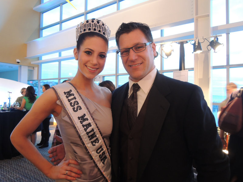 Miss Maine USA 2013 Ali Clair of Portland, and Andrew Menard of Portsmouth, N.H., taking donations for Easter Seals Maine.