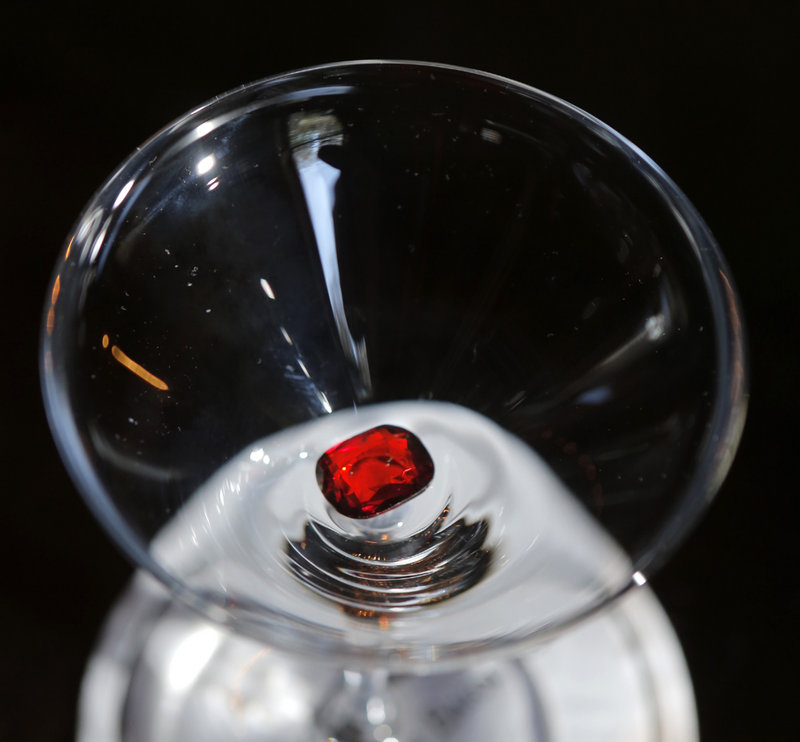 The White Barn Inn in Kennebunk will offer a $40,000 Ruby Rose cocktail starting June 1. A real 4-carat ruby, about the size of this fake one, will be put in the glass.