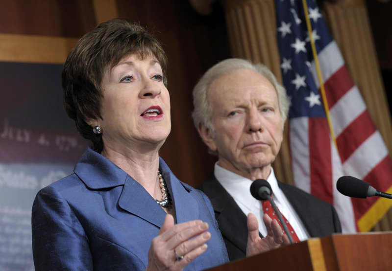 "By co-sponsoring the gun trafficking bill and and co-sponsoring a measure to fund school security efforts, U.S. Sen. Susan Collins, R-Maine, seen with then-Sen. Joe Lieberman, shows she's not afraid to stand up to ""gun extremists,"" a reader says."