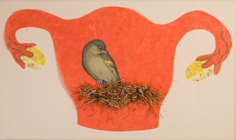 "Kimberly Crichton's ""Birthing,"" 2009, paper and embroidery thread."