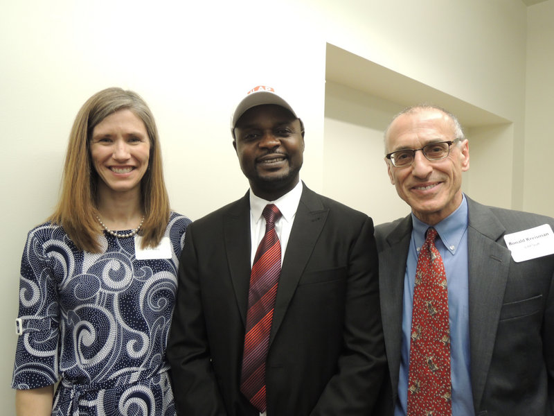 Jen Archer, president of the Immigrant Legal Advocacy Project board of directors; Maxwell Chikuta, a former ILAP client who spoke about his journey from the war-torn Republic of Congo to Portland; and ILAP Executive Director Ronald Kreisman at the CeleSoiree event