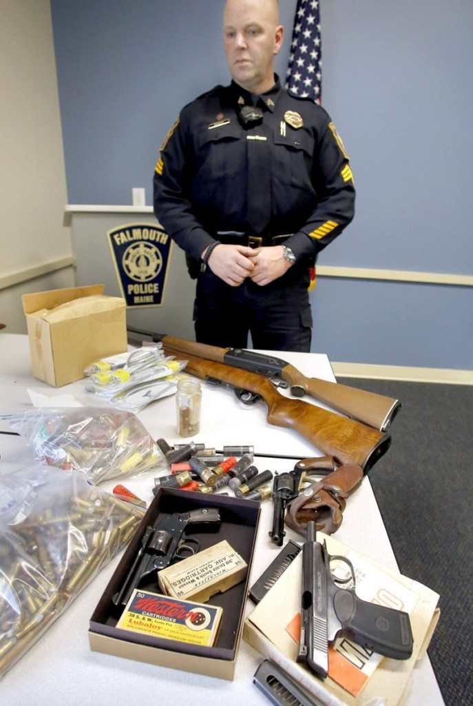 Guns and ammunition turned in to the Falmouth police are displayed. Letter writers say such acts can reduce violence.