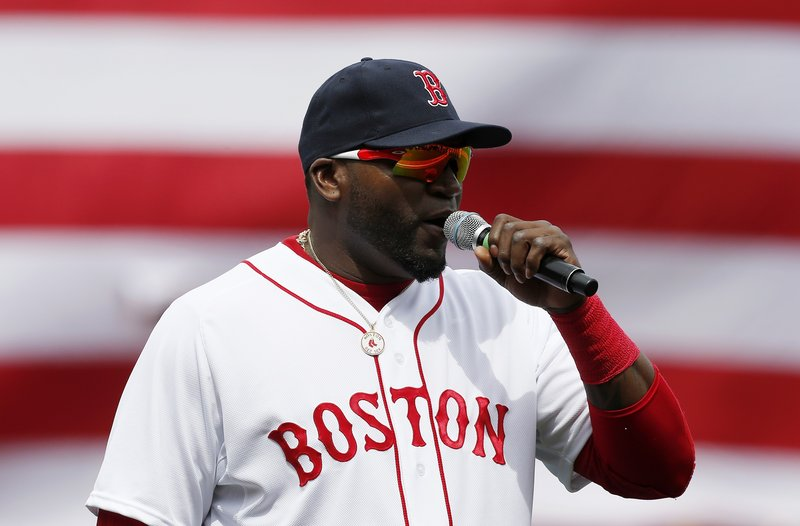 "David Ortiz draws cheers as he urges Red Sox Nation to ""stay strong"" during a spontaneous and rousing speech at Fenway Park before the start of Saturday's game against the Kansas City Royals."