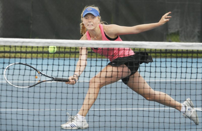 Olivia Leavitt, now a sophomore, was one of three Falmouth players who reached the state singles semifinals a year ago. She'll try to lead the Yachtsmen to a sixth consecutive Class B team championship.