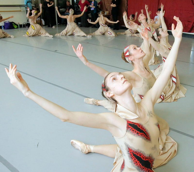 "Erica Diesl, Lindsay Cregier, Kaleigh Natale, Megan McCoy and fellow dancers rehearse at Portland Ballet for ""The Armed Man: A Mass for Peace."""