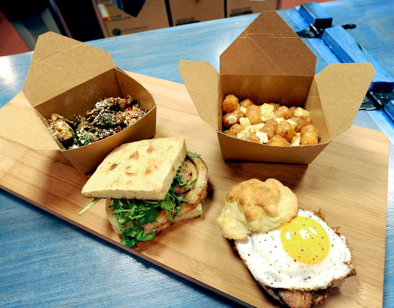 Fried brussels sprouts, the Porchetta sandwich, Tot-tine and the Red Eye Breakfast at Blue Rooster Food Co.
