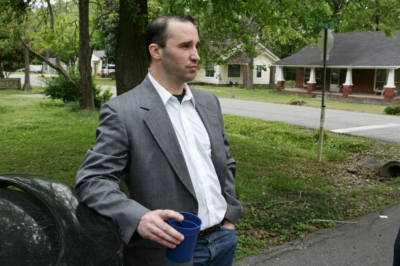 J. Everett Dutschke stands in the street near his home in Tupelo, Miss., as he waits for the FBI to arrive and search his home Tuesday in connection with recent ricin letters.