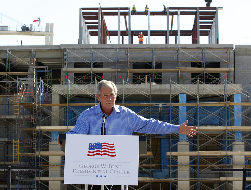 George W. Bush will celebrate the opening of his presidential library in Dallas on Thursday with all four living U.S. presidents at Southern Methodist University.